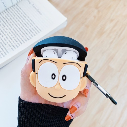 Earphone Case cute Doraemon Nobita Nobi Silicone Cover for AirPods Headset Charging Box Cases with Hook