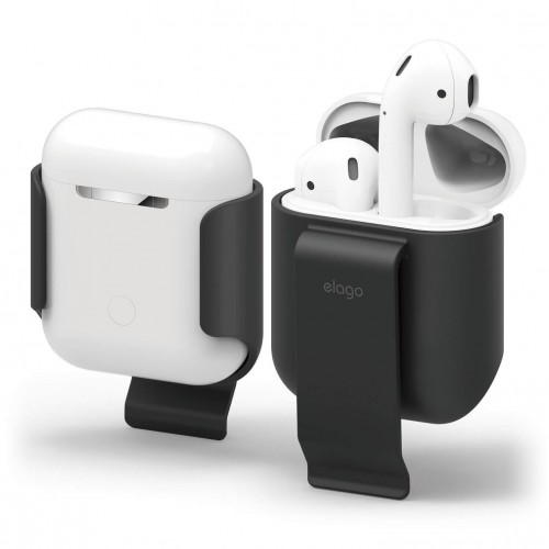 elago AirPods Belt Clip - Convenient Portability Soft Feel Coating - BLACK EAP-CLIP-BK