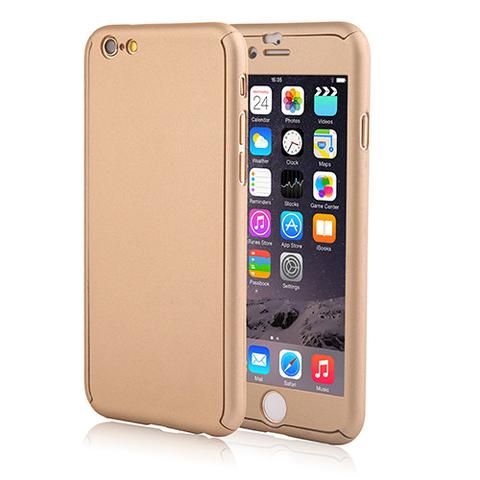 Slim Fit 360 Hybrid Full Body Case Cover Gold for iPhone 5 / 5S SE with FREE Tempered Glass