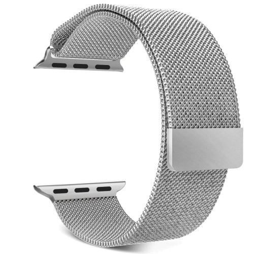 42mm Milanese Loop Stainless Steel Replacement Band Strap for Apple Watch With Magnet Lock (WATCH NOT INCLUDED) (Silver Steel)
