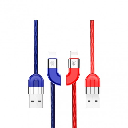 Baseus ® Couple Magnetic Cable 2A Max Fast Charging Nylon-Braided USB Data Charging Cable for @ple 8 pin (2pc)